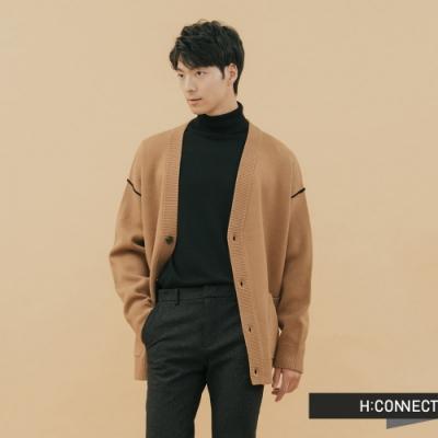 H:CONNECT 韓國品牌 男裝-落肩排扣雙口袋針織外套-棕
