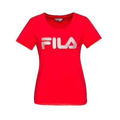 FILA 女款短袖圓領T恤-紅色 5TET-1454-RD