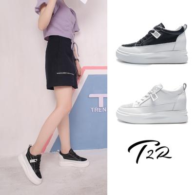 T2R-正韓空運-星空真皮織帶款厚底鞋-增高7公分-黑/白