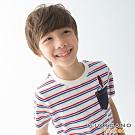GIORDANO 童裝條紋小火箭刺繡口袋T恤-82 白/藍/紅