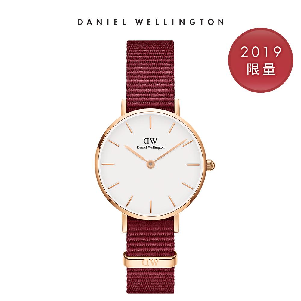 DW 手錶 官方旗艦店 28mm玫瑰金框 Classic Petite 玫瑰紅織紋錶