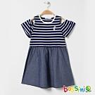 bossini女童-挖肩連身洋裝02海軍藍