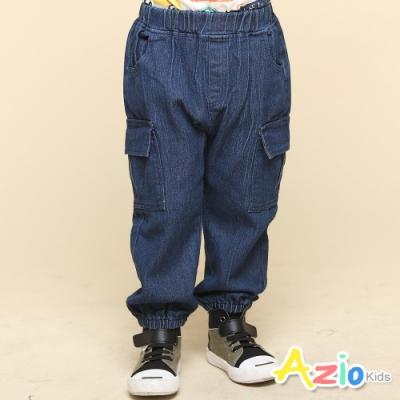 Azio Kids 男童 長褲 側邊雙口袋鬆緊縮口牛仔長褲(藍)