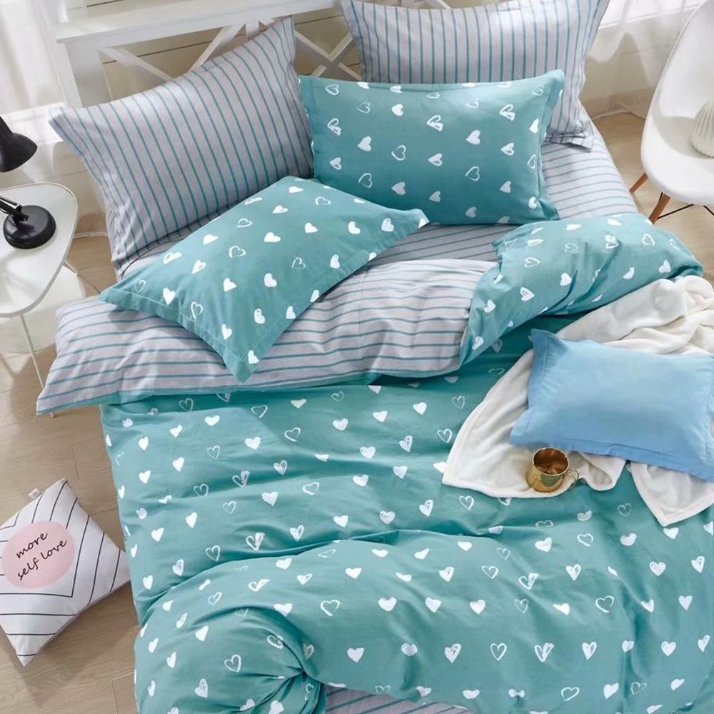 戀家小舖 / 雙人加大床包被套組  小日子  100%精梳棉  活性印染