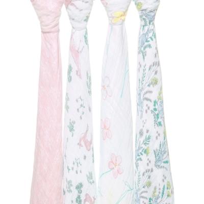 美國aden+anais  輕柔新生兒包巾(4入)-森林系系列AA2075
