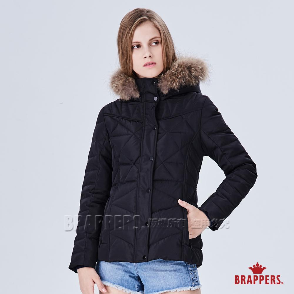 BRAPPERS 女款 可拆帽收腰羽絨外套-黑