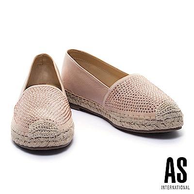 休閒鞋 AS 晶鑽羊皮草編厚底休閒鞋-粉