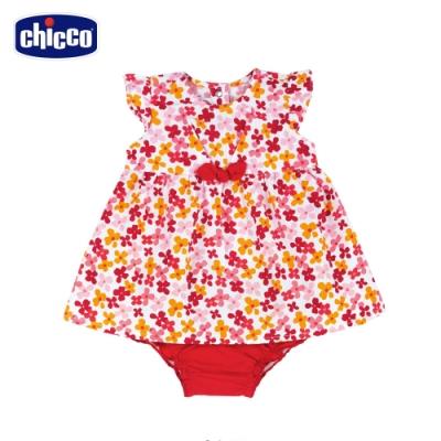 Chicco- TO BE BG-繽紛花朵洋裝+包屁褲