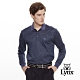 【Lynx Golf】男款義大利進口絲光暗格紋路長袖POLO衫-深藍色 product thumbnail 2
