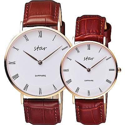 STAR 時代 城市情人羅馬石英對錶-白x咖啡色錶帶/41+36mm