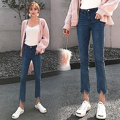 高腰微喇叭牛仔褲-藍色(S-2XL可選)    NUMI 森