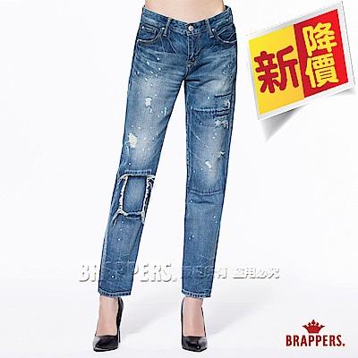 BRAPPERS 女款 Boy Friend Jeans系列-女用八分反摺褲-藍