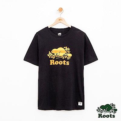 男裝Roots 庫柏雙色LOGO短袖T恤-黑
