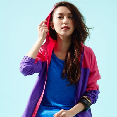 【FIVE UP】亮麗剪接抗UV風衣連帽外套-紫色