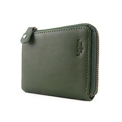 CALTAN-拉鍊零錢袋 多功能卡片收納零錢包-1985cd綠