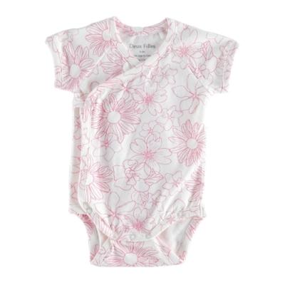 【Deux Filles有機棉】短袖側開襟包屁衣-紅花圖案