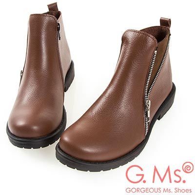 G.Ms. MIT系列-牛皮拉鍊拼接麂皮短靴-咖啡