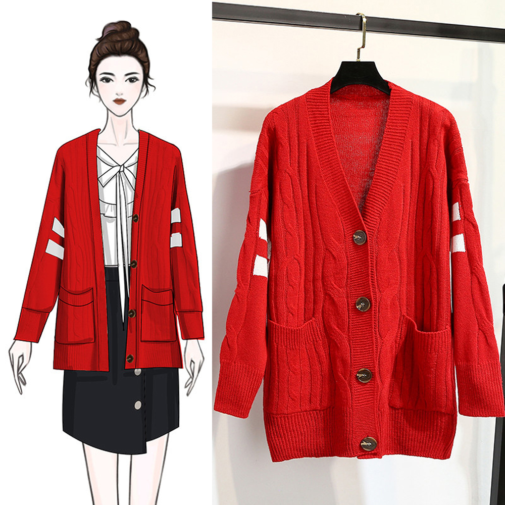 La Belleza手袖雙槓條紋配色麻花針織雙口袋琥珀釦毛衣外套