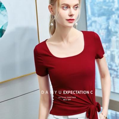 專注內搭-綁帶短袖T恤復古方領上衣(三色S-2XL可選)
