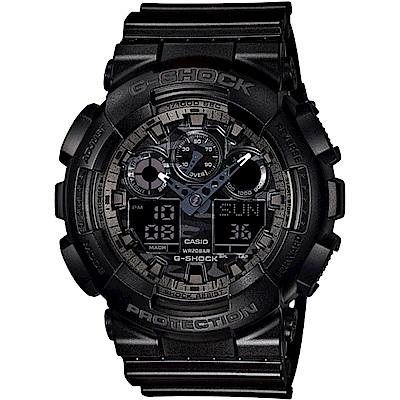 G-SHOCK 卡西歐 金屬迷彩 粗曠元素運動錶(GA-100CF-1A)-黑灰/52mm