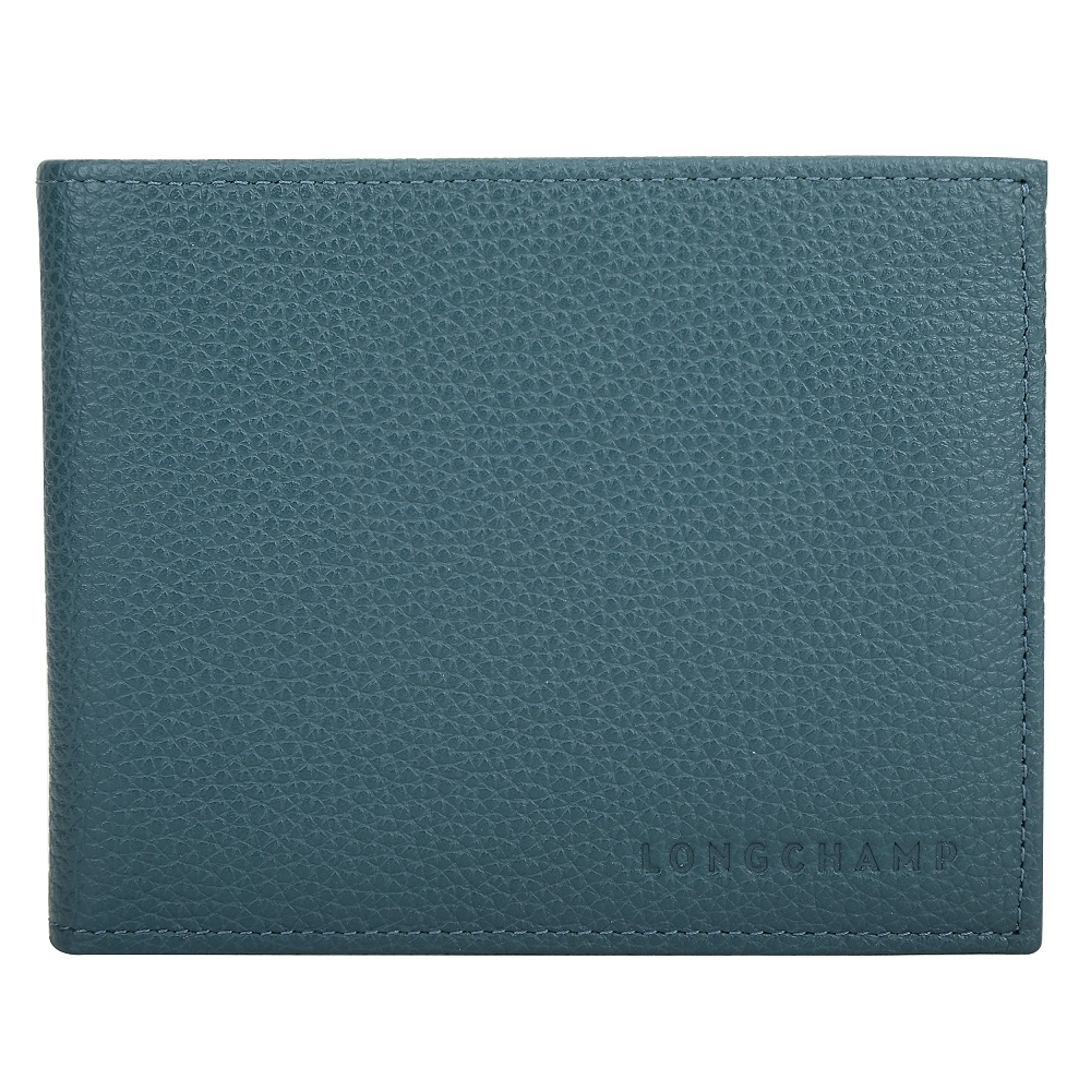 LONGCHAMP Le Foulonne 荔紋牛皮對折零錢袋短夾(孔雀藍)