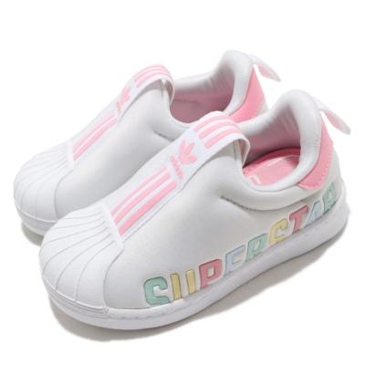 adidas 休閒鞋 Superstar 360 X I 童鞋 愛迪達 三葉草 套入式 無鞋帶 小童 白 粉 FV7233