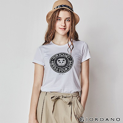 GIORDANO 女裝可愛熊貓短袖印花T恤-01 標誌白