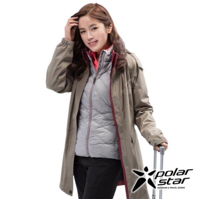 PolarStar 女 二件式防風羽絨外套『卡其』P18236