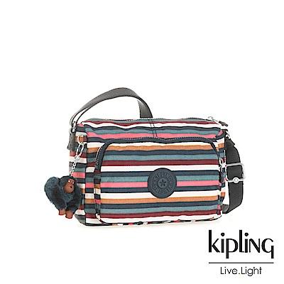 Kipling繽紛仲夏條紋前袋拉鍊側背包(小)