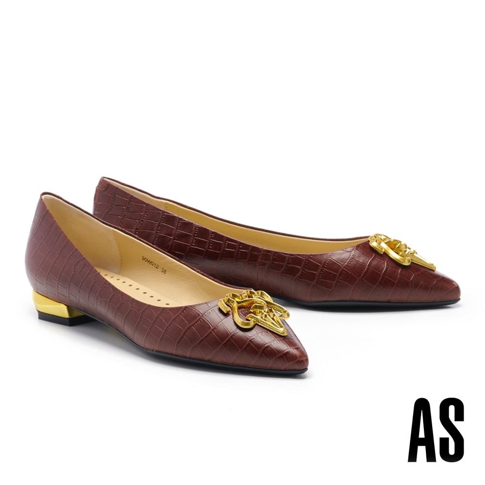 低跟鞋 AS 低調奢華鍍金 LOGO 尖頭低跟鞋-咖