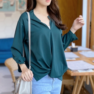 2F韓衣-簡約素色壓褶下擺造型上衣-2色(M-XL)