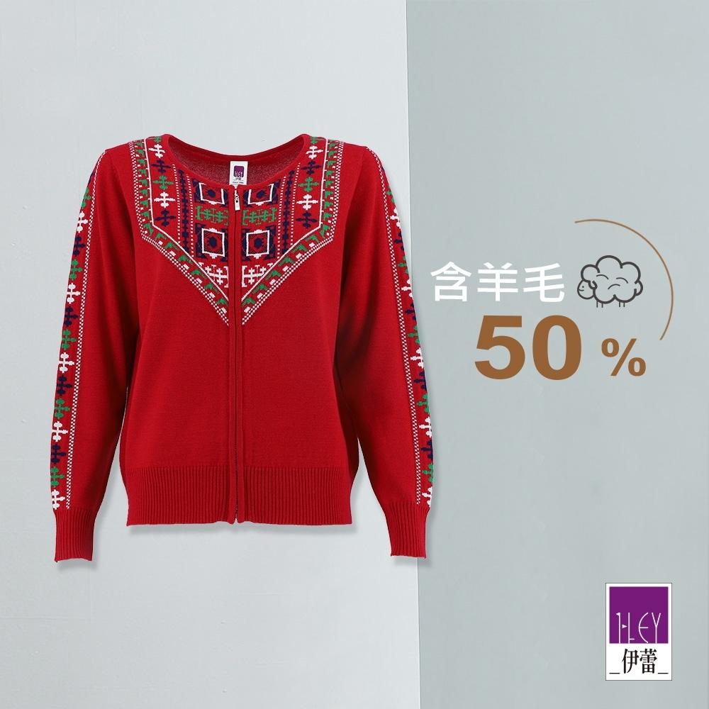 ILEY伊蕾 聖誕圖騰羊毛保暖針織外套(紅)