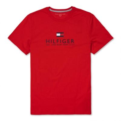 TOMMY 經典熱銷印刷大LOGO文字短袖T恤(男)-紅色