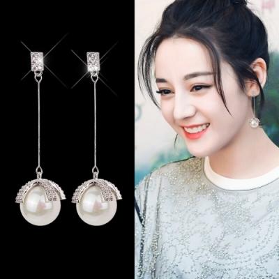 梨花HaNA  韓國925銀針.隆重的華麗感長耳環