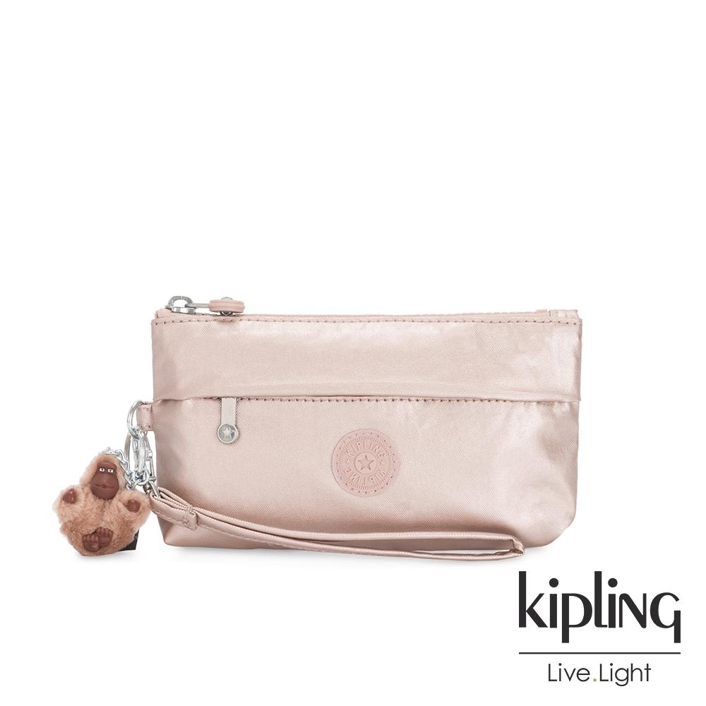 Kipling 金屬光玫瑰金手拿配件包-NIYLAH
