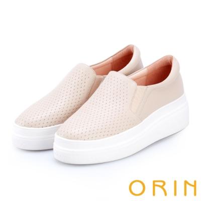 ORIN 引出度假氣氛 牛皮編織造型厚底便鞋-裸色