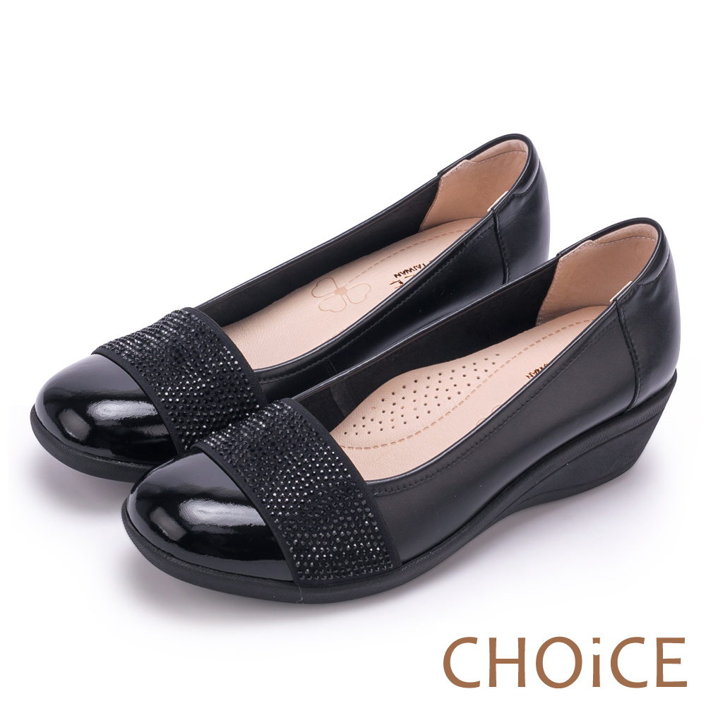 CHOiCE 質感牛皮水鑽楔型 女 中跟鞋 黑色