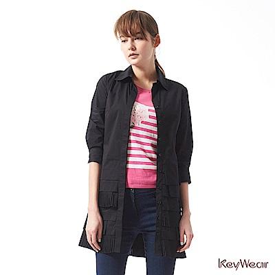 KeyWear奇威名品     個性層次感剪裁七分袖洋裝-黑色