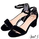 Ann'S氣質女伶-側邊閃耀吊鑽極簡繫踝粗跟涼鞋-黑