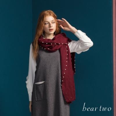 bear two- 造型波浪長袖襯衫 - 白