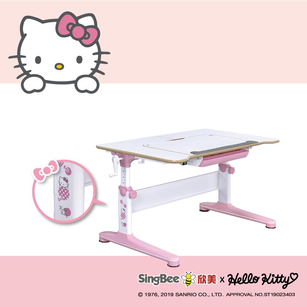 【SingBee欣美】Hello Kitty 實木樺木U板桌-兒童成長桌/台灣製/學生