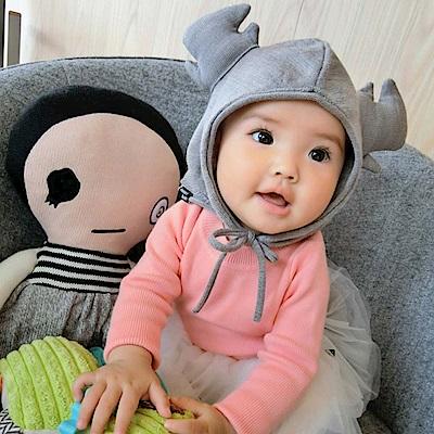 Baby unicorn 淺灰麋鹿綁帶嬰兒棉帽