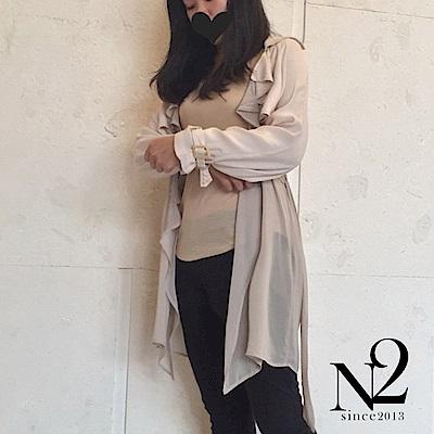 外套 飄逸絲質多層次長版風衣外套(杏) N2