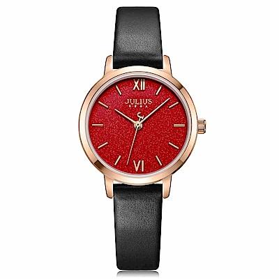 JULIUS聚利時 皓耀星砂簡約時尚皮錶帶腕錶-閃耀紅/28mm