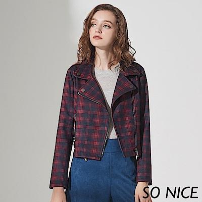 SO NICE率性格紋麂皮絨騎士外套 @ Y!購物