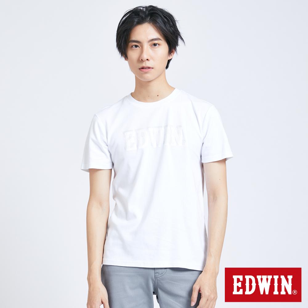 EDWIN EFS夾層LOGO印花 短袖T恤-男-白色