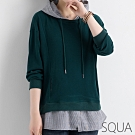 SQUA 開叉拼接繫帶連帽上衣-二色-(L/XL)