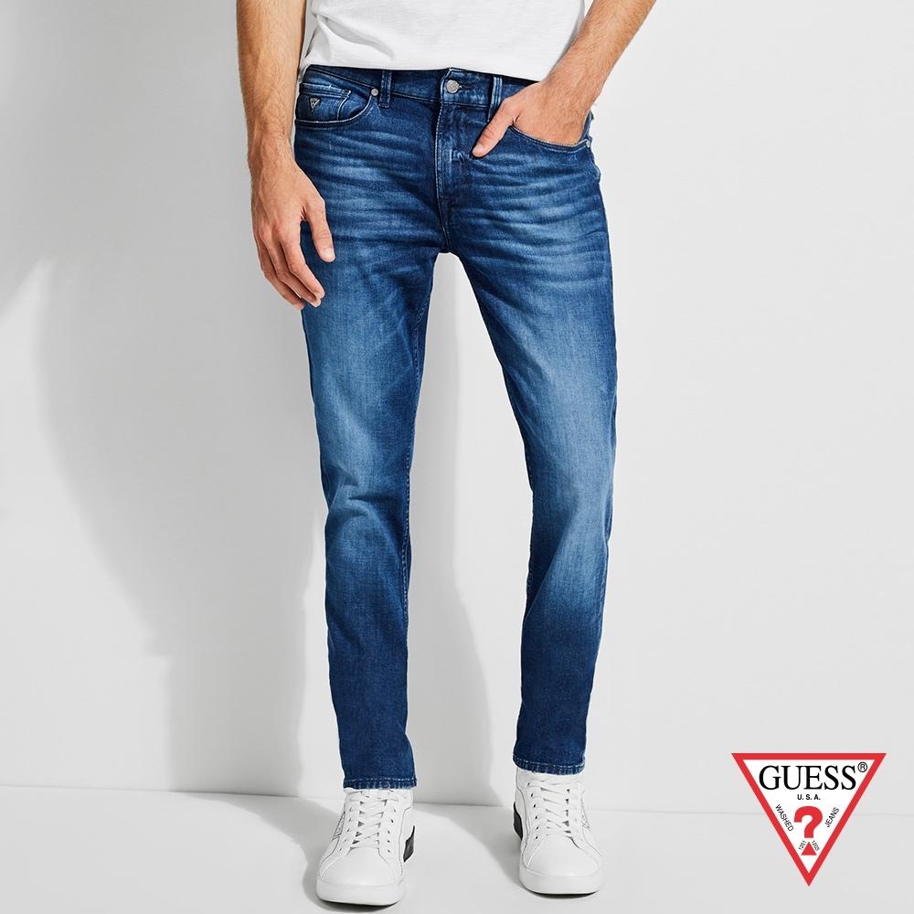 GUESS-男裝-仿舊造型窄版牛仔褲-湛藍