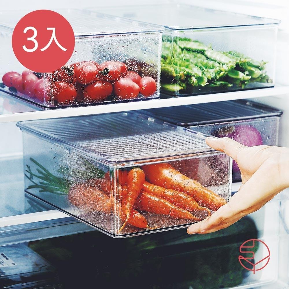 日本霜山 掀蓋式層疊PET耐凍冰箱蔬果生鮮收納盒-3入