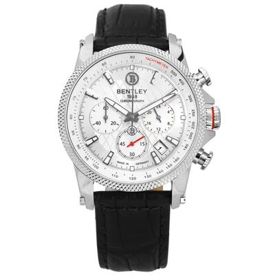 BENTLEY 賓利 德國製造 藍寶石水晶玻璃 日期 計時 真皮手錶-銀x黑/42mm
